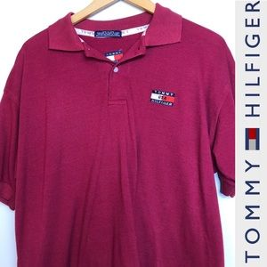 Tommy Hilfiger Red Logo Polo Shirt XL